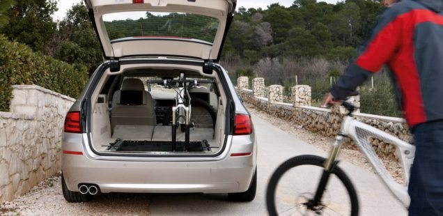 The BMW 5 Series Touring takes bikes standing up