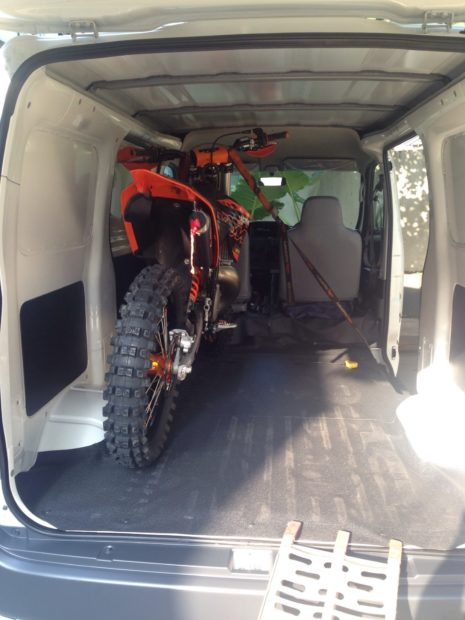 Motocross Bike in Toyota HiAce Van
