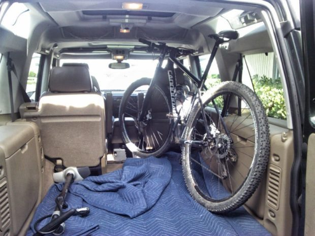 Mountain Bike inside Land Rover Discovery 2
